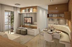 O que me chamou a atenção: cores neutras, decoração simples e otimização de espaços.