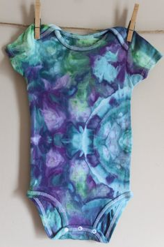 24 Month Short Sleeve Onesie. Hand Dyed. Ice Dyed. by PolinarySoup