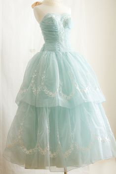 1950's Tulle Prom Dress, in Tiffany Blue with White Embroidered Flowers