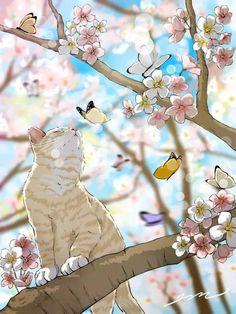 Cats in art - Kunst - Gatos Aesthetic Art, Aesthetic Anime, Art Et Illustration, Illustrations, Cat Wallpaper, Anime Scenery, Cat Drawing, Animal Drawings, Japanese Art