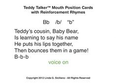 Transform learning about 38 sounds/phonemes by helping the child visualize and describe Teddy's own production of sounds.  These colorful illustrations use the unique Teddy Talker® cueing system for voicing, wind/air, and nasal features of sounds for 38 phonemes.  The digital version allows you to print multiple copies of the cards for your exclusive use.  This allows for variation in phonemic sequencing, i.e. VISUALLY ordering consonants and vowels within varied syllable shapes to ...