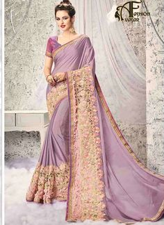 saree online – Georgette Net Satin Lavender designer sarees online india