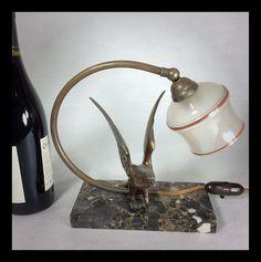 Art Deco eagle lamp© ChateauAntiques.com | Flickr - Photo Sharing! Art Deco Table Lamps, Kettle, Desk Lamp, Sculptures, Marble, Home Decor, Tea Pot, Decoration Home, Room Decor