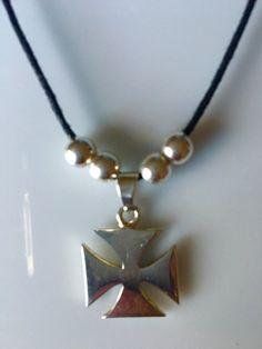 Sterling Silver Maltese Cross Necklace,Sterling silver modern cross pendant on Adjusting cotton cord necklace ,  cruz de Malta plata 925 de Silverandme en Etsy