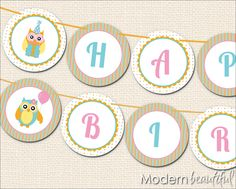 birthday banner printable free | Owl Party Printable Happy Birthday Banner Cute by ModernBeautiful