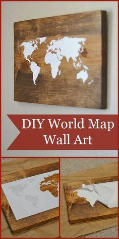 Craft Project Ideas: DIY World Map Wall Art