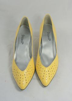 d9295a9e1784 Vintage 1980s Bright Yellow Studded and Cut Out by hipandvintage Yellow  Shoes