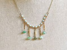 Stella. beaded layering gemstone bib necklace. by tiedupmemories