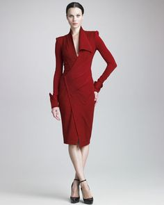 Draped Jersey Long-Sleeve Dress by Donna Karan at Neiman Marcus.