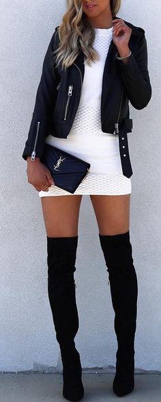 #fall #blackandwhite #outfit #ideas   Biker + LWD + Overknees
