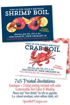 Low Country Crab or Shrimp Boil Party Invitation - Crab Shrimp Seafood Boil Rehearsal Dinner Party, Birthday Invitation, Graduation Party by SprinkledDesign on Etsy