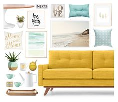 """""""mint and mustard."""" by tothineownselfbtrue ❤ liked on Polyvore featuring interior, interiors, interior design, home, home decor, interior decorating, Thrive, Dot & Bo, DENY Designs and Maclaren"""