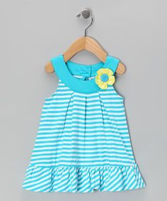 Take a look at this Blue Stripe Yoke Dress - Infant & Girls by Samara on #zulily today!
