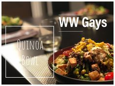 This cold quinoa bowl is so filling and packed with deliciousness and quick to make! Weight Watchers Diet, Quinoa Bowl, Homemade Dressing, Edamame, How To Cook Quinoa, Chicken And Vegetables, Oven Baked, Kale, Stuffed Mushrooms