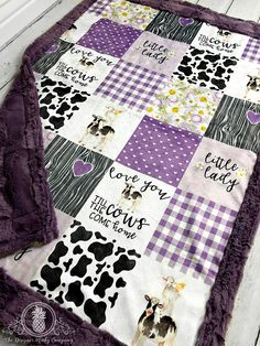Little Lady Love you Till the Cows Come Home - Purple - Faux Quilt - Designer Minky - Lavender Cow Nursery, Baby Nursery Themes, Nursery Ideas, Nursery Room, Baby Room, Sewing Crafts, Sewing Projects, Cow Decor, Purple Cow