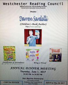 Darren Sardelli speaks at the Westchester Reading Council Annual Dinner Meeting on June 1, 2017; see https://balkinbuddies.tumblr.com/post/160992585417/childrens-book-poet-darren-sardelli-speaks-at-the