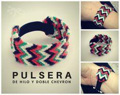 Pulseras de hilos y doble chevron con estilo étnico.Thread bracelet. Ethniccraft