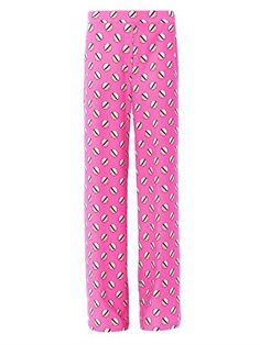 These pink screw pois printed trousers have a high-rise and a wide leg. The trousers have an elasticated back waistband and two front slanted pockets.