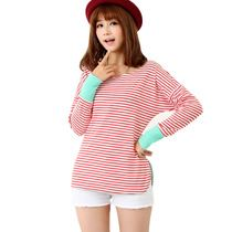 2014 new spring fashion wild striped t-shirt female models long-sleeved