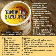 Tumeric Tea: Liver Detox liver detox diet detox for liver Healthy Detox, Healthy Drinks, Easy Detox, Healthy Water, Detox Foods, Simple Detox, Vegan Detox, Healthy Juices, Easy Juice Recipes