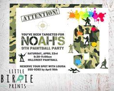 PAINTBALL INVITATION Paintball birthday by littlebirdieprints