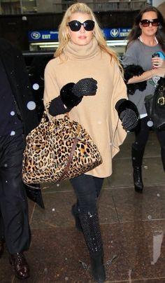 Jessica Simpson cute winter style