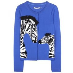 Alice + Olivia Leo Zebra Love Embellished Cardigan ($250) ❤ liked on Polyvore featuring tops, cardigans, blue, sweaters, zebra top, embellished cardigan, embellished tops, blue cardigan and zebra cardigan
