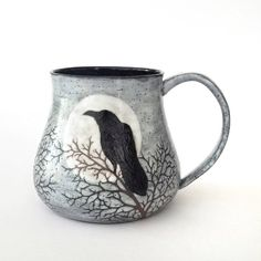 24 oz Sgraffito Full Moon, Raven and Winter Branches Stoneware Mug in Stormy Grey Glaze -  Handmade Functional Art Pottery