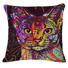 Colorful Cat Printed Cushion  Price: 14.95 & FREE Shipping  #hashtag1