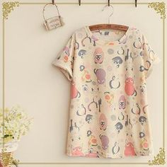 Buy 'Fairyland – Short-Sleeve Cat Print T-Shirt' with Free International Shipping at YesStyle.com. Browse and shop for thousands of Asian fashion items from China and more!