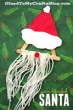 So creative - check out our Yarn Bearded Santa - Kid Craft tutorial! This fun fellow will ALWAYS be invited to the craft party! Check out our Yarn Bearded Santa kid craft tutorial and make this season extra special with us! Christmas Crafts For Kids, Craft Stick Crafts, Christmas Themes, Winter Christmas, Holiday Crafts, Christmas Holidays, Christmas Ornaments, Craft Party, Craft Ideas