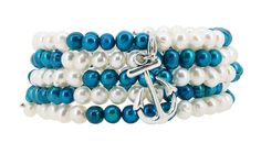 White and Dyed Peacock Blue Freshwater Cultured Pearls Wrap Bracelet with a Removable Charm ** More info could be found at the image url.