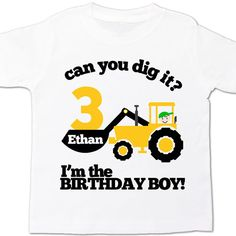 construction birthday boy shirt - excavator can you dig it - personalized birthday shirt