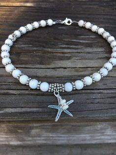 Beach Anklet Ankle Bracelet Starfish Anklet White Anklet Beaded Anklet Ankle Jewelry Beach Bride Anklet Beach Jewelry - Anklet - Ideas of Anklet - Beach Anklet Starfish Anklet Beach Bride by BeachBohoJewelry Ankle Jewelry, Ankle Bracelets, Body Jewelry, Seashell Jewelry, Beach Jewelry, Cute Jewelry, Bracelet Making, Jewelry Making, Beaded Necklace