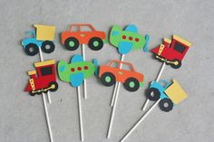 12 Transportation Toppers, Car Truck Birthday, Car Party, Airplane and Train Birthday 2nd Birthday Boys, Birthday Themes For Boys, Happy Birthday Banners, 3rd Birthday Parties, Cake Birthday, Transportation Birthday, Summer Crafts For Kids, First Birthdays, Car Party