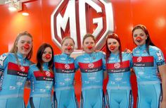 Lady team with red nose