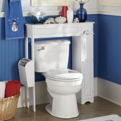 Space saving, storage that makes an industrial toilet look nice, while not blocking the window above the toilet.