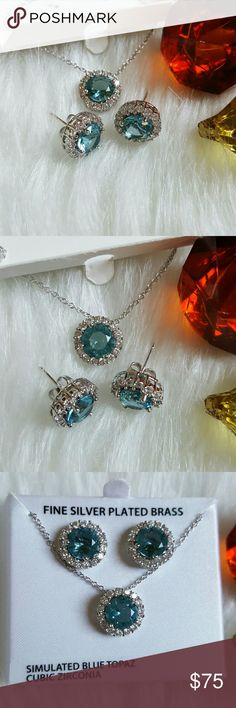 """Simulated Blue Topaz Cubic Zirconia Pendant Set NWT & box. Fine Silver Plated Brass. Gorgeous necklace with simulated blue topaz & cubic zirconia. 18"""" necklace. Jewelry Earrings"""