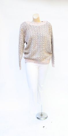 1980's pink confetti sweater vintage sparkle by WindingRoadVintage, $28.00