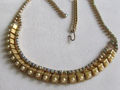 Vintage AB Rhinestones and Faux Pearl Box Necklace by Lavendergems on Etsy