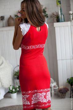 """Купить Платья """" Красная помада"""" - ярко-красный, цветочный, красное платье, платье с кружевом"""