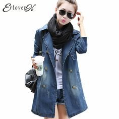 572543ed6cc Autumn Spring Denim Coat 2017 New Women Windbreaker Long sleeved Large size  Outerwear Casual Clothing Casaco Feminino ONE762-in Trench from Women's  Clothing ...