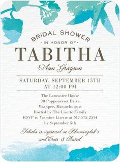 Signature White Bridal Shower Invitations Brushed Tropics - Front : Bisque  Beach Wedding