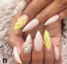 Interesting color combo. Nude with a splash of neon yellow!