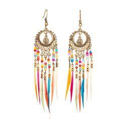 women earring Fringe earrings fashion earring Multi Colored Tassel Earrings with Bronze Earring Wire Long Tassel Gauges Ear Wire Hanging