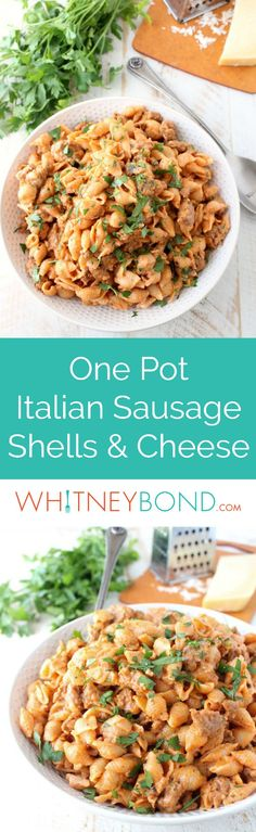 In one pot and under 45 minutes, prepare this Italian style Shells and Cheese recipe, filled with flavorful sausage, tomato sauce, and three cheeses! The @worldmarket Large White Textured Stoneware Bowl is perfect for serving this delicious mac and cheese recipe! #WorldMarketTribe