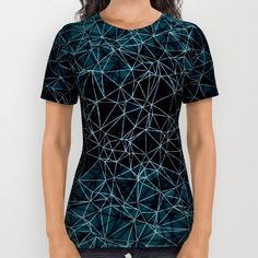 Polygonal A4 All Over Print Shirt by VanessaGF | Society6  #polygonal, #polygons , #nodes, #vectors, #abstract, #blue, #triangles , #lines, #shirt,
