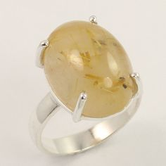 Awesome Ring Size US 6.75 Natural RUTILATED QUARTZ Gemstone 925 Sterling Silver #Unbranded