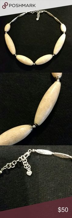 "Brighton Necklace Cream and beautifully scrolled design. Unique Brighton piece. 16"" long with an additional 2.5"" extender. No tarnishing. EUC comes with Brighton pouch. Brighton Jewelry Necklaces"