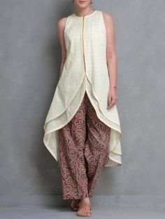 Cream-Golden Zari Checks & Layered Asymmetrical Kerala Mangalgiri Cotton Kurta by HAR.YARN.V